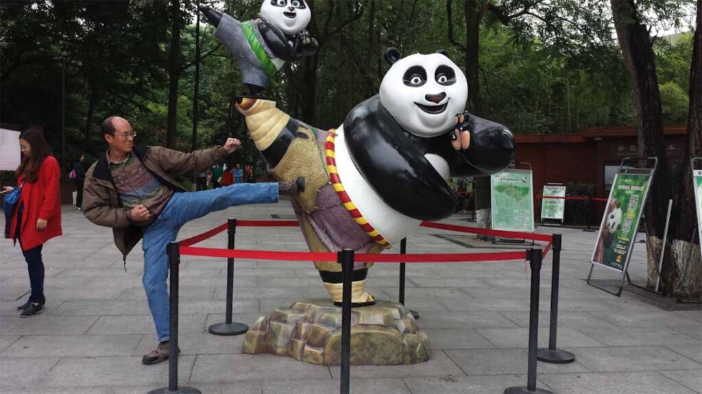 The author trades kicks with Kung-Fu Panda